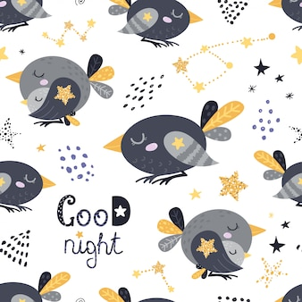 Seamless pattern with sleeping birds
