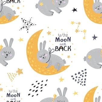 Seamless pattern with sleeping bunnies