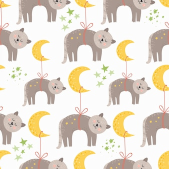 Seamless pattern with sleeping cats