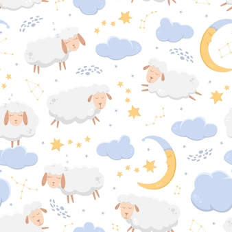 Seamless pattern with sleeping sheep flying across the starry sky among clouds and constellations.