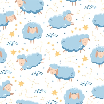 Seamless pattern with sleeping sheep flying across the starry sky.