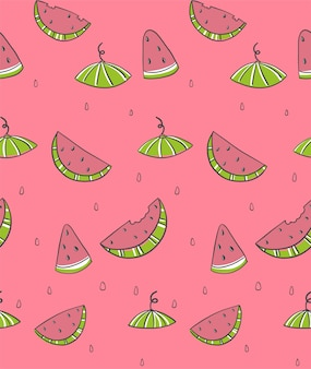 Seamless pattern with slice watermelons