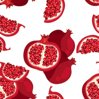 Seamless pattern with sliced pomegranate
