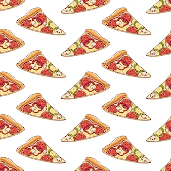Seamless pattern with slices of delicious pizza