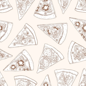 Seamless pattern with slices of delicious traditional italian pizza hand drawn with contour lines on light space