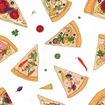 Seamless pattern with slices of different pizza types and ingredients scattered around