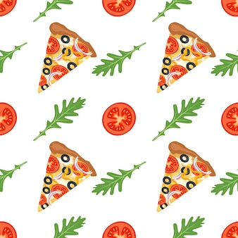 Бесшовные модели с кусочками пиццы рукколой