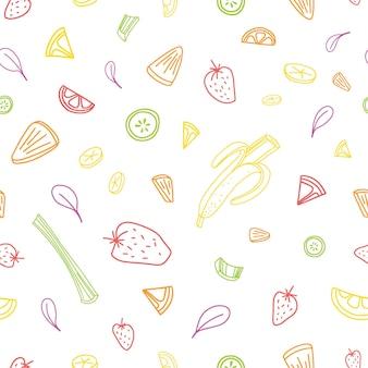 Бесшовный фон с ломтиками или кусочками вкусных овощей, свежих тропических фруктов и ягод, нарисованных с красочными контурами на белом фоне. векторная иллюстрация для фона, ткань для печати.