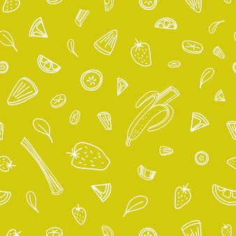 Seamless pattern with slices of tasty berries, vegetables and tropical fruits drawn with contour lines on green