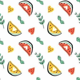 Seamless pattern with slices of watermelon, heart shapes and mint leaves. fruits and herbs.