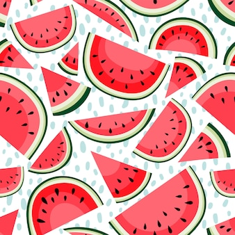 Seamless pattern with slices of watermelon on white