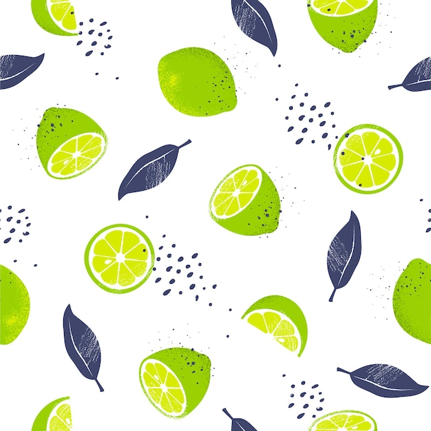 Seamless pattern with slices and whole limes.  illustration.