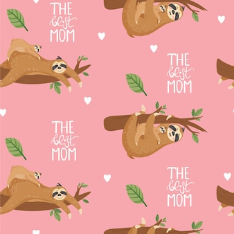 Seamless pattern with sloths