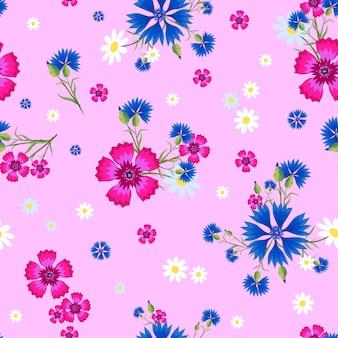 Бесшовный фон с маленькими и большими белыми ромашками, гвоздикой и синими васильками