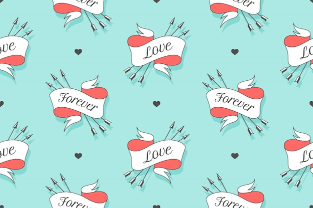 Seamless pattern with small hearts and ribbons with arrows with the text forever