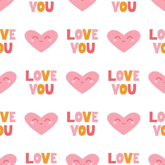 Seamless pattern with a smiling pink heart and a handmade inscription i love you