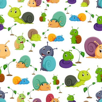 Seamless pattern with snail cartoon