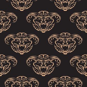 ヘビの顔とのシームレスなパターン。背景、プリント、衣類、テキスタイルに適しています。ベクトルイラスト。