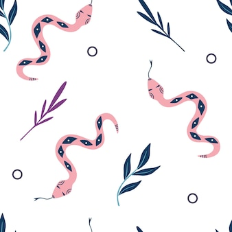 Seamless pattern with snakes and leaves. halloween decor. background with mystical elements.