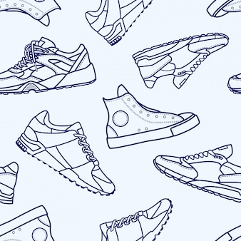 Seamless pattern with sneaker shoe flat line stroke icon pictogram symbol illustration