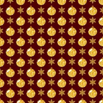 눈송이와 빛나는 크리스마스 공 완벽 한 패턴