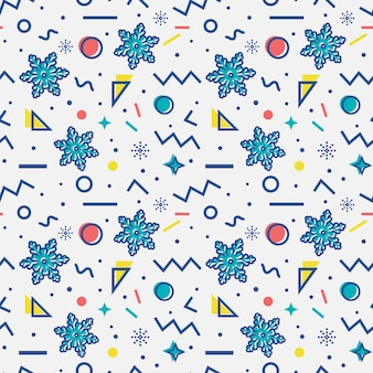 Seamless pattern with snowflakes. memphis style.  .