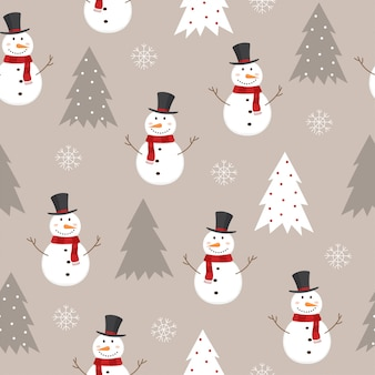 Seamless pattern with snowman, christmas trees and snowflakes.