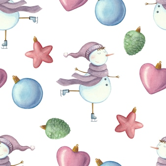 Seamless pattern with snowman on skates and christmas toys