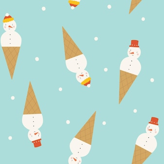 Seamless pattern with snowman snowflake on blue background snowman in the form of ice cream