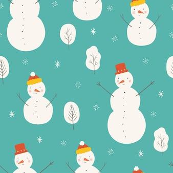 Бесшовный фон со снежинкой дерева снеговика на синем фоне рождество вектор шаблон