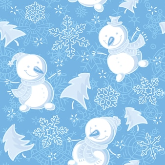 Seamless pattern with snowmen and snowflakes