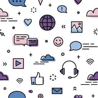 ソーシャルネットワーキング、グローバルオンラインコミュニケーション、白のインスタントメッセージングシンボルとのシームレスなパターン