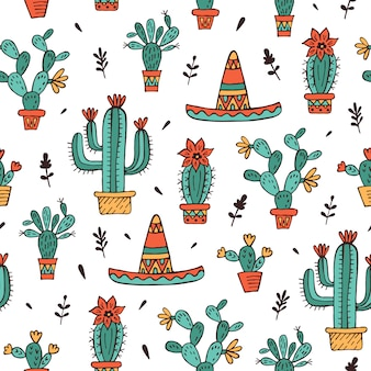 Seamless pattern with sombrero and cactuses