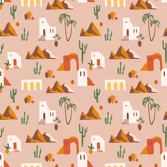 Seamless pattern with southern landscape. mediterranean, north africa
