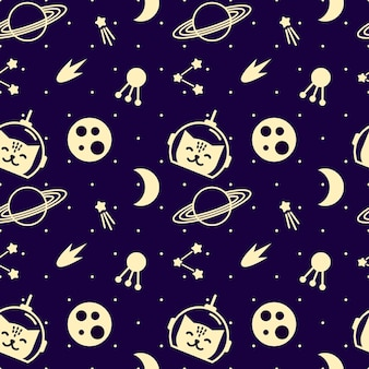 Seamless pattern with space elements and cats