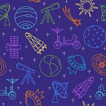 Seamless pattern with space icons