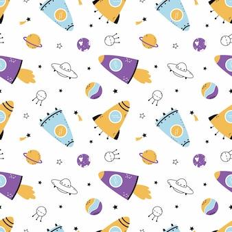 宇宙ロケットと惑星とのシームレスなパターン。子供服の縫製や壁紙への印刷の背景。星空。