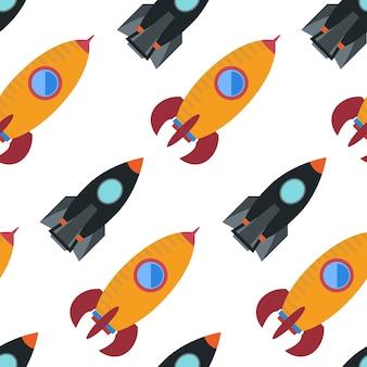 宇宙ロケットとのシームレスなパターン。ベクトルイラスト。