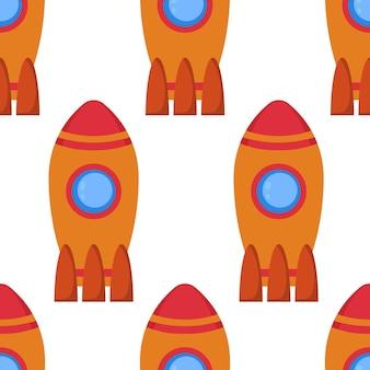 Бесшовный фон с космической ракетой. векторная иллюстрация.