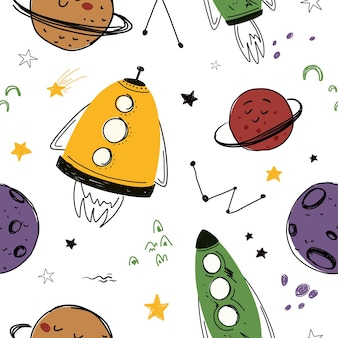 Seamless pattern with space rockets and planets stars