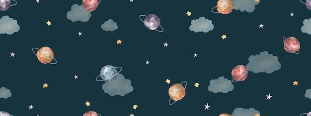 Бесшовный фон с космосом, звездами, планетами, милой акварельной детской иллюстрацией