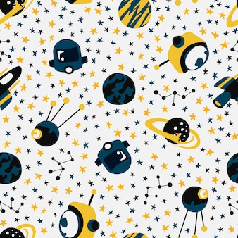 Seamless pattern with spaceships and stars