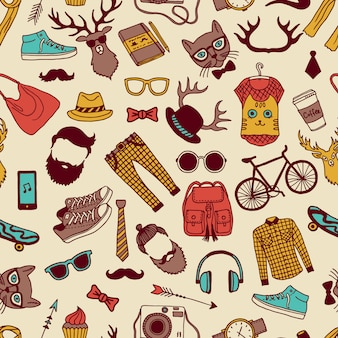 Seamless pattern with specific elements of hipster style. hand drawn pictures. hipster background texture with glasses and animal. vector illustration