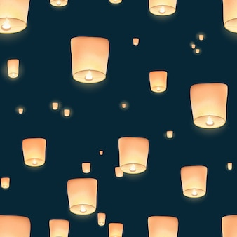 밤 하늘에 날아 다니는 중국 제등의 장관을 볼 수있는 원활한 패턴