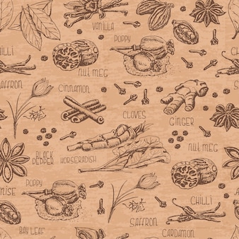 Seamless pattern with spices on a beige color