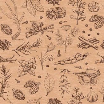 Seamless pattern with spices and herbs on a beige color