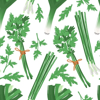 Seamless pattern with spicy herbs