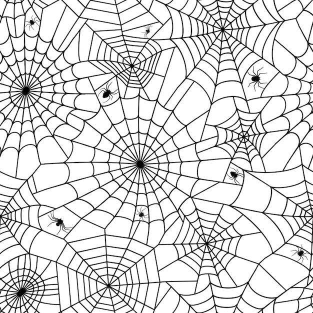 Seamless pattern with spider web. halloween decoration with cobweb. spiderweb flat vector