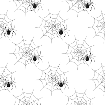 Seamless pattern with spider web on halloween