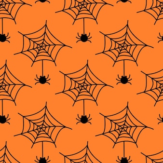 Seamless pattern with spider web and  spider isolated on orange background vector flat illustration